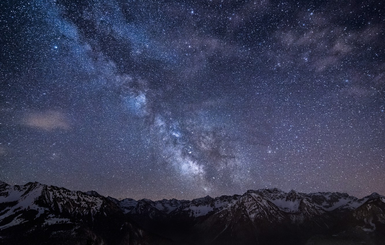 Фото обои небо, звезды, горы, ночь, Германия, Бавария, Млечный Путь, sky, Germany, night, mountains, stars, Bavaria, Milky …