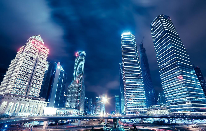 Обои небоскребы, китай, дома, улицы, шанхай, дороги. Города foto 7