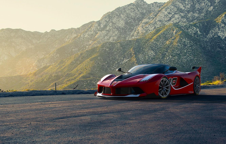 Фото обои Ferrari, Red, Race, Front, Sun, Sunset, Road, Supercar, FXX K, Moutian