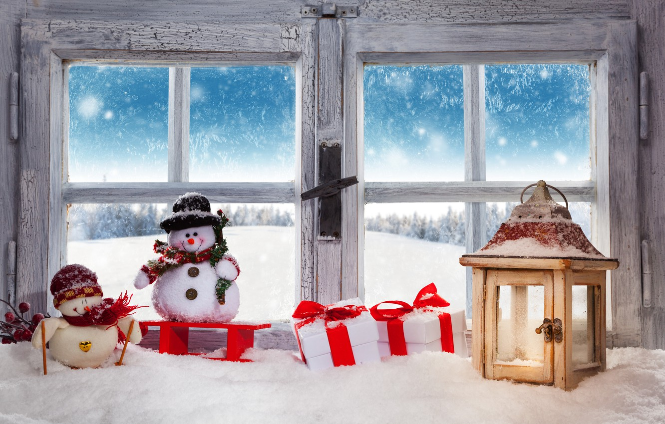 Фото обои Christmas, winter, snow, snowman, decoration