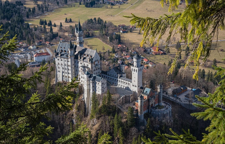 Фото обои замок, Германия, Бавария, Neuschwanstein, панорама, Нойшванштайн, castle
