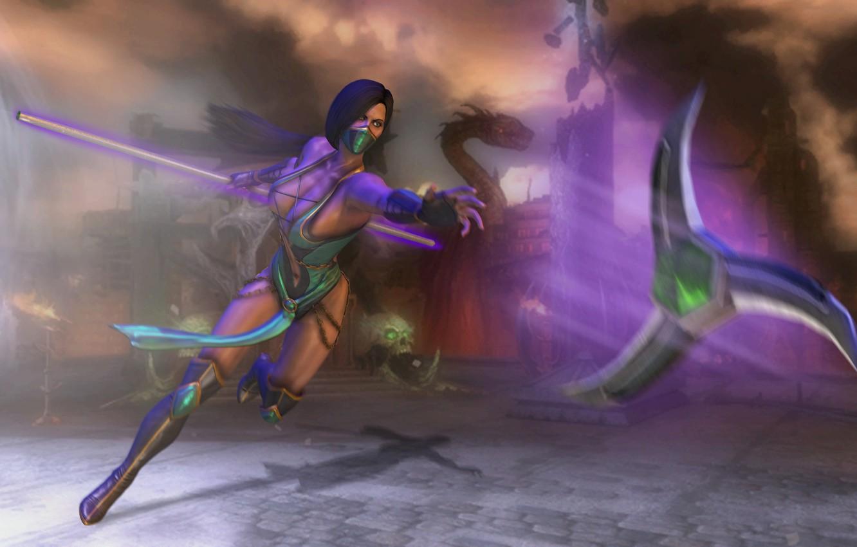 Фото обои девушка, оружие, игра, тень, бой, арт, костюм, Mortal Kombat, Jade