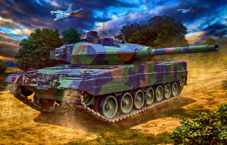 Фото обои war, art, painting, tank, Leopard 2A6 Main Battle Tank