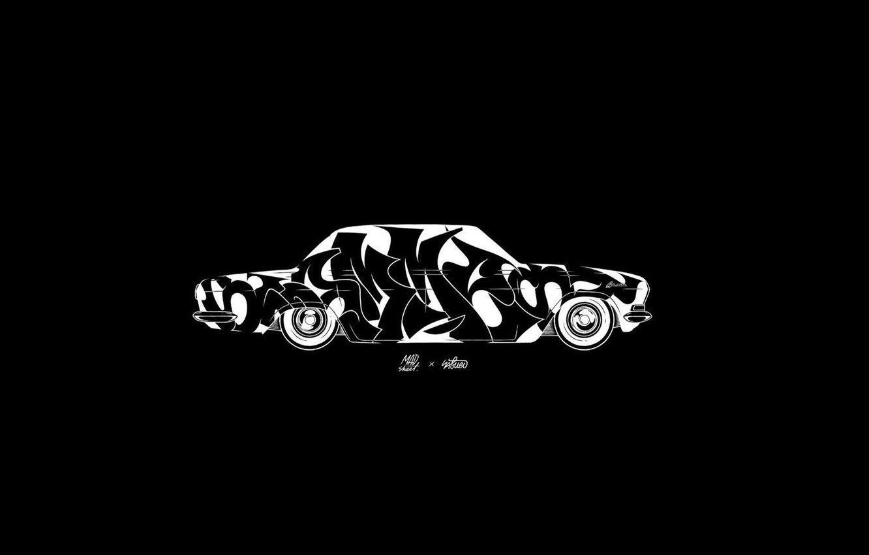 Фото обои Минимализм, Автомобиль, Арт, Art, Black, White, Wallpaper, Волга, ГАЗ-24