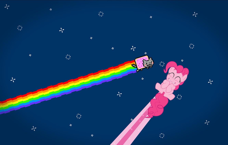 Фото обои кот, звезды, радуга, аниме, nyan cat, pinkie pie
