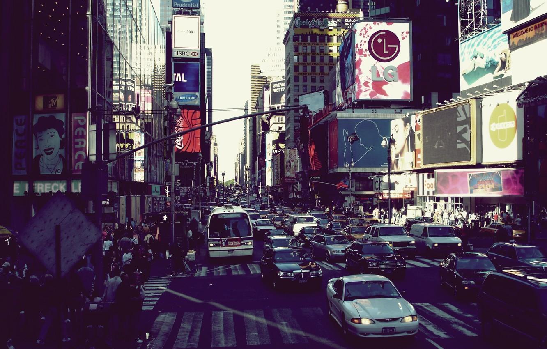 Фото обои city, город, движение, мегаполис, new york, оживленность