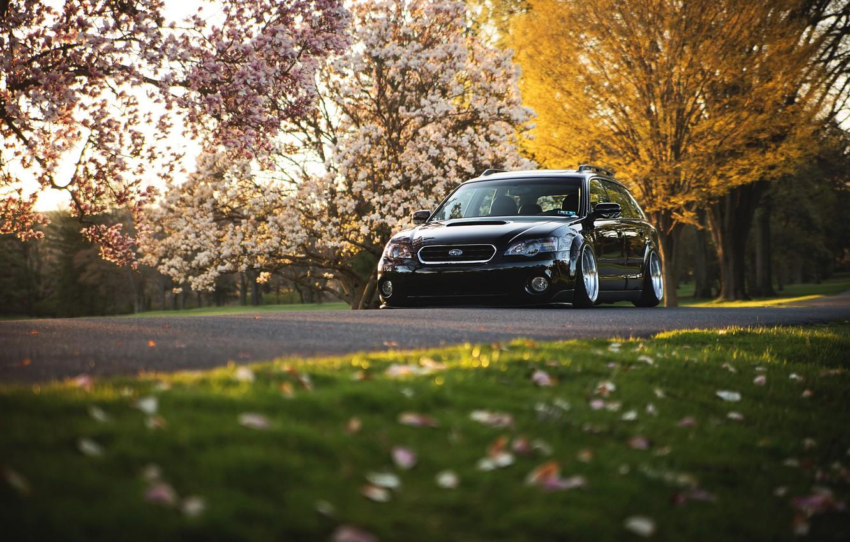 Фото обои Subaru, черная, black, субару, stance, Outback