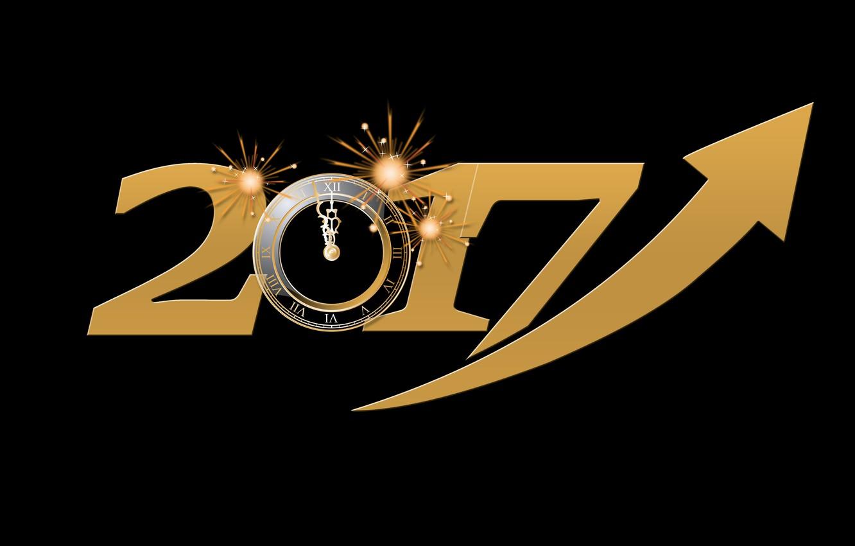 Фото обои энергия, желтый, время, огни, фон, праздник, черный, графика, часы, новый год, вектор, цифры, стрела, черный …