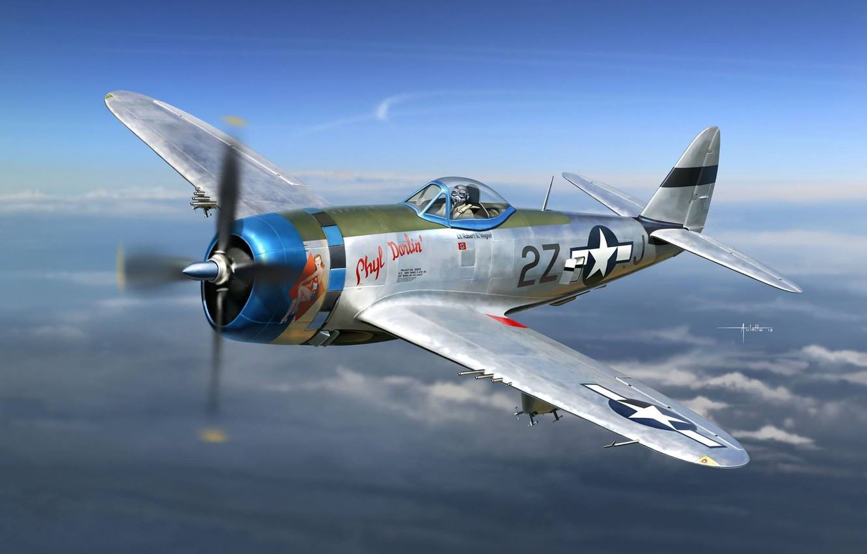 Обои war, painting, aviation, ww2, aircraft, air combat, P 47 thunderbolt, drawing, dogfight. Авиация foto 8
