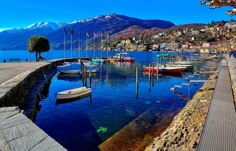 Обои Пейзаж, причалы, лодки, ticino, швейцария, дома, ascona, набережная. Города foto 7