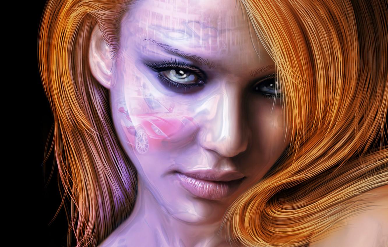 Фото обои глаза, взгляд, лицо, волосы, Jessica Alba, джессика альба