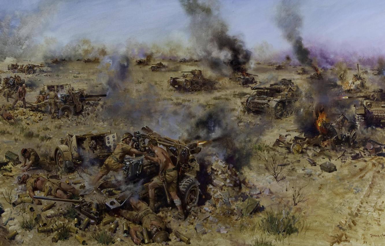 Фото обои огонь, пламя, атака, дым, танки, выстрелы, артиллерия, WW2, художник Теренс Кунео, Битва Найтсбридж, 6 июня …