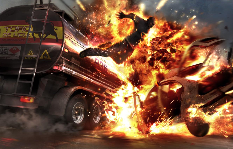 Фото обои Огонь, Взрыв, Горящий Человек, Wheelman Tankerjump, Boom