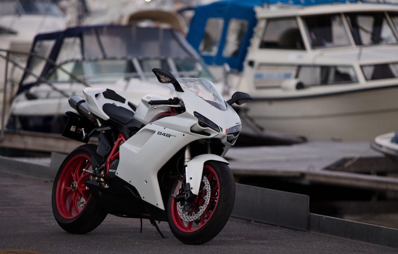Фото обои белый, мото, мотоцикл, white, moto, motorcycle, ducati, спортбайк, sportbike