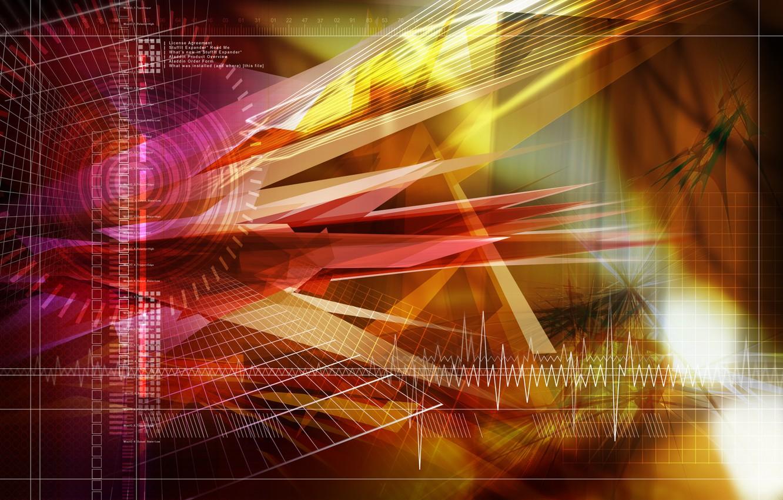 Фото обои текст, треугольники, формы, Группа, экг, разной, цвета.линии, квадратов