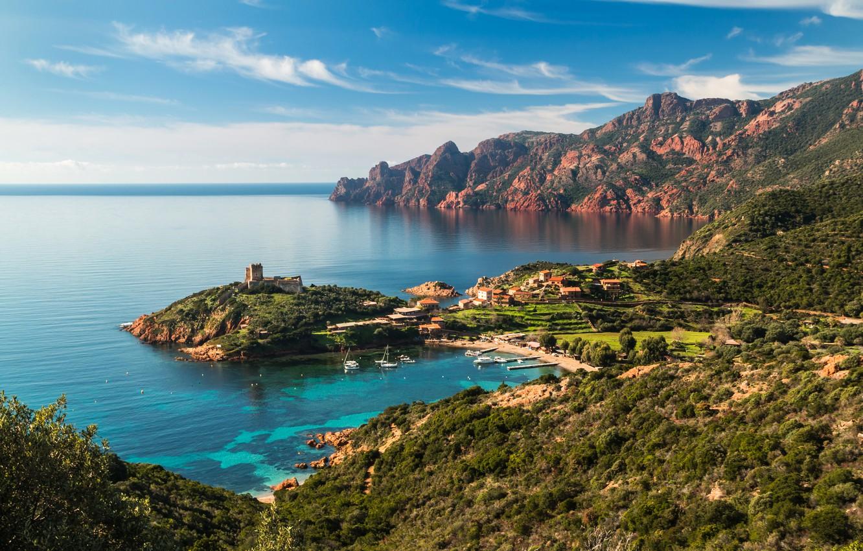 Фото обои море, горы, скалы, побережье, Франция, дома, бухта, яхты, крепость, Corsica