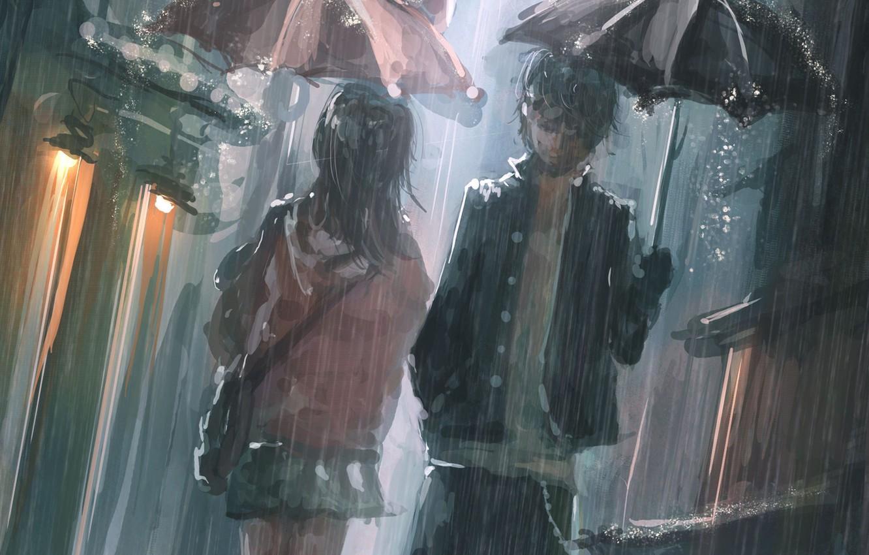 Фото обои дождь, зонт, аниме, мужчина