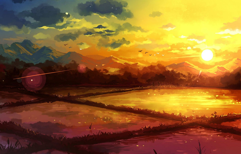 Фото обои небо, вода, облака, закат, горы, птицы, природа, поля, арт, natsukijia, jia