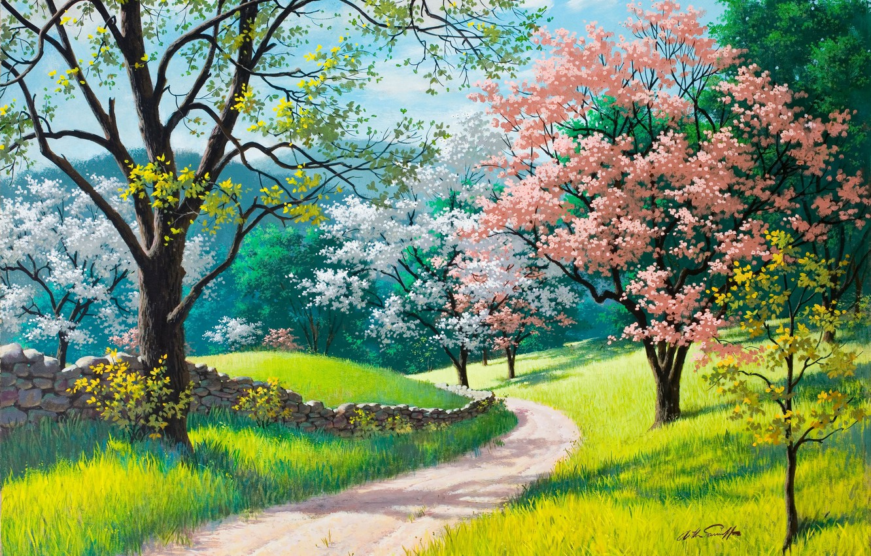 Фото обои дорога, зеленая трава, весна, живопись, Arthur Saron Sarnoff, каменный забор, Spring Blossoms, деревья в цвету