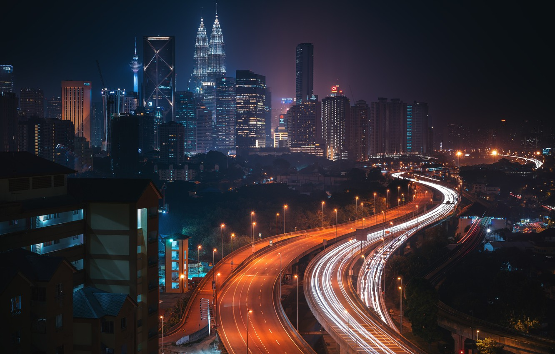 Фото обои дорога, ночь, город, огни, Малайзия, Куала Лумпур