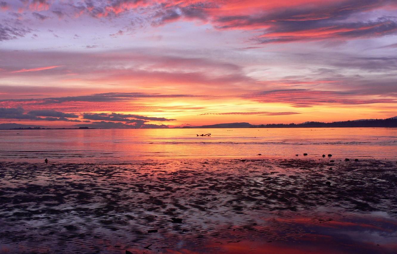 Фото обои море, Закат, горизонт