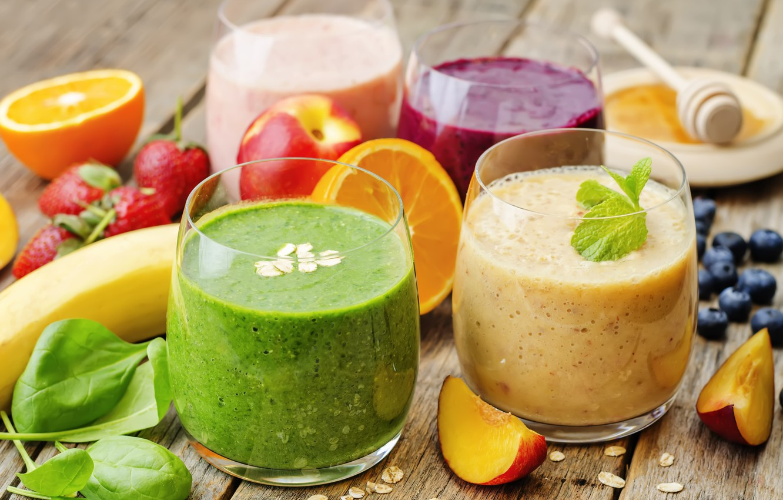 Фото обои ягоды, апельсин, клубника, коктейль, фрукты, банан, fresh, fruit, berries, smoothie, смузи