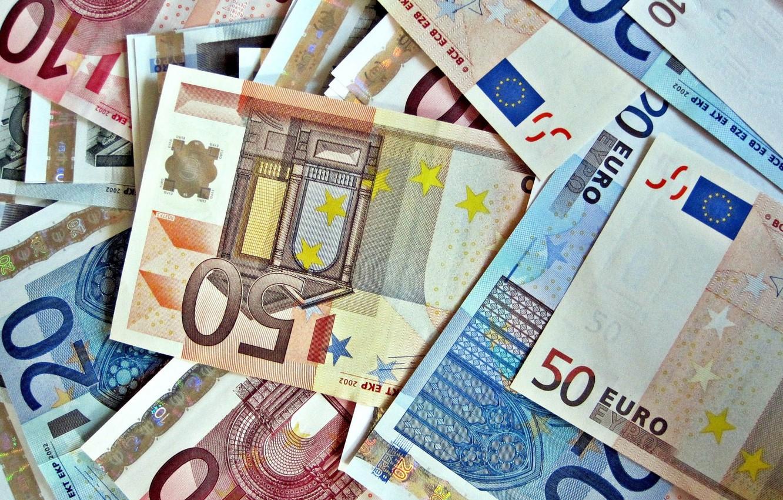 Фото обои макро, деньги, евро, валюта, купюры, euro
