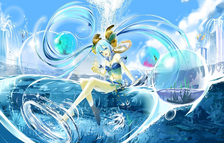 Картинки девочка вода аниме