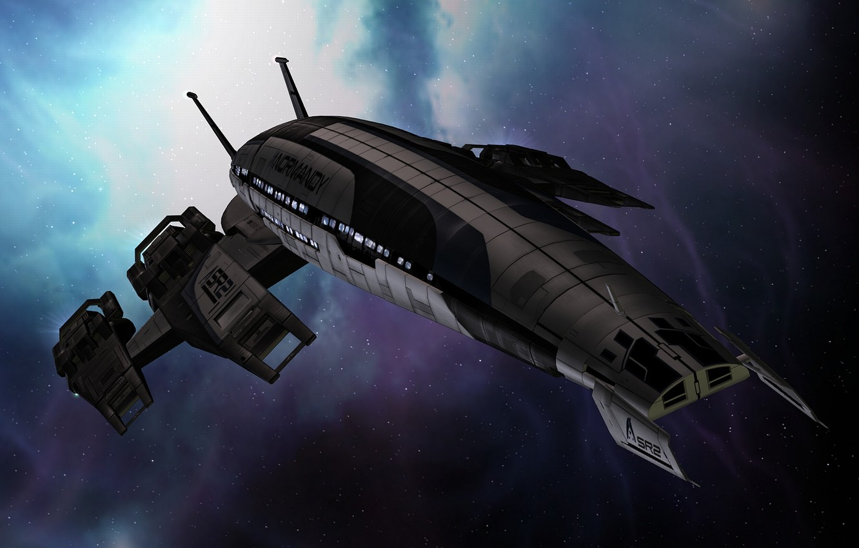 Фото обои космос, корабль, space, нормандия, mass effect, normandy, масс эффект, sr-2
