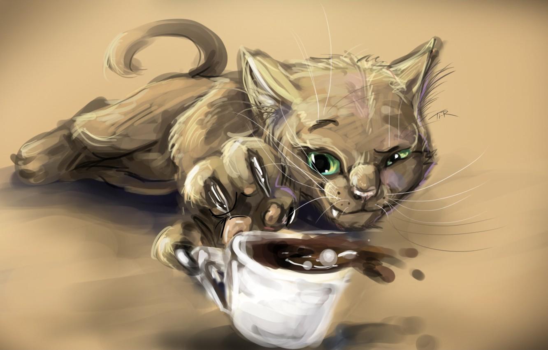 Фото обои кофе, Кот, чашка, когти, прищур, хитрюга