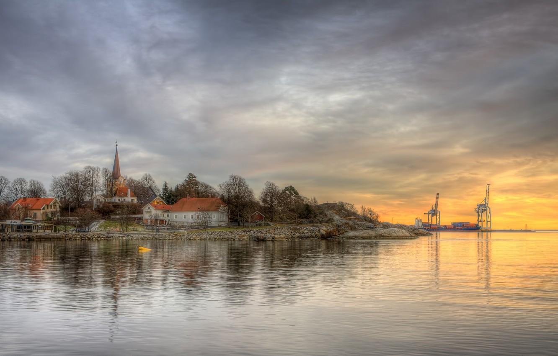 Фото обои река, дома, деревня, hdr, порт, церковь, Tollerodeden