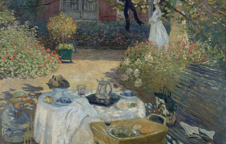 Обои Девушки в Саду, жанровая, картина, Клод Моне. Разное foto 9