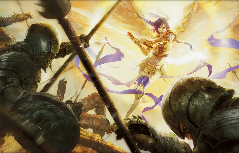 Фото обои свет, атака, крылья, ангел, меч, доспехи, ярость, гоблины, Magic The Gathering, Aleksi Briclot, Akromas Vengeance