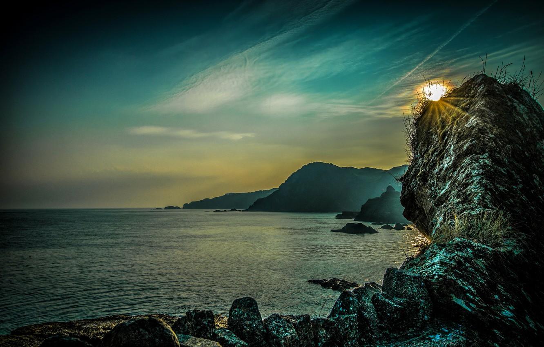 Фото обои море, закат, камни, скалы, побережье, Англия, Ilfracombe
