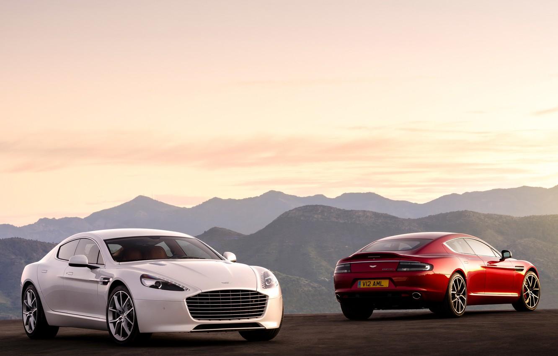 Обои rapide s, Red, White, машины, две. Автомобили foto 6