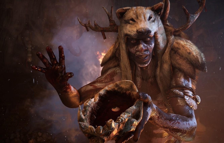 Фото обои Череп, Кровь, Ubisoft, Far Cry Primal, Древнии