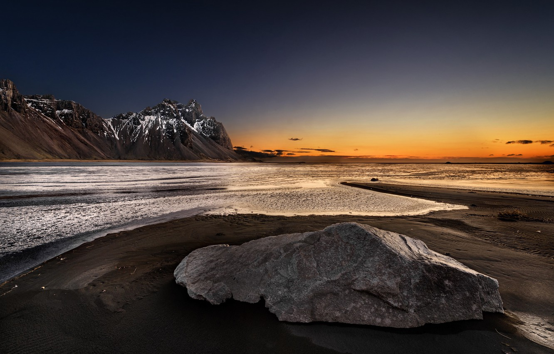 Фото обои море, закат, горы, природа