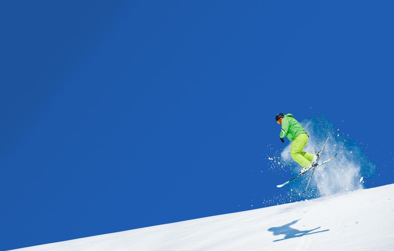 Обои спуск, Лыжи, лыжник. Спорт foto 15