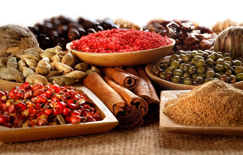 Фото обои корица, пряности, специи, кардамон, кориандр, spices, куркума