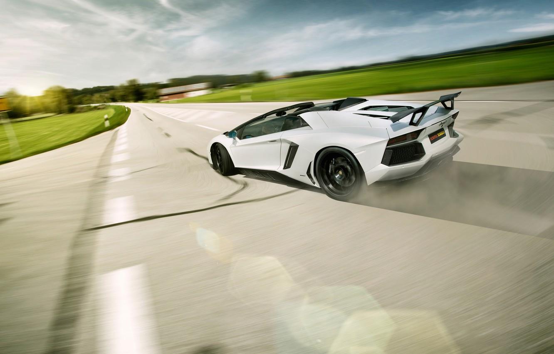 Фото обои Roadster, Lamborghini, LP700-4, Aventador, LB834, Rear, Novitec Torado, Skid