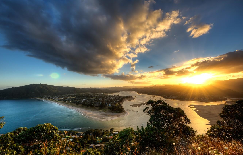 Фото обои солнце, лучи, закат, вид, высота, вечер, Новая Зеландия, панорама