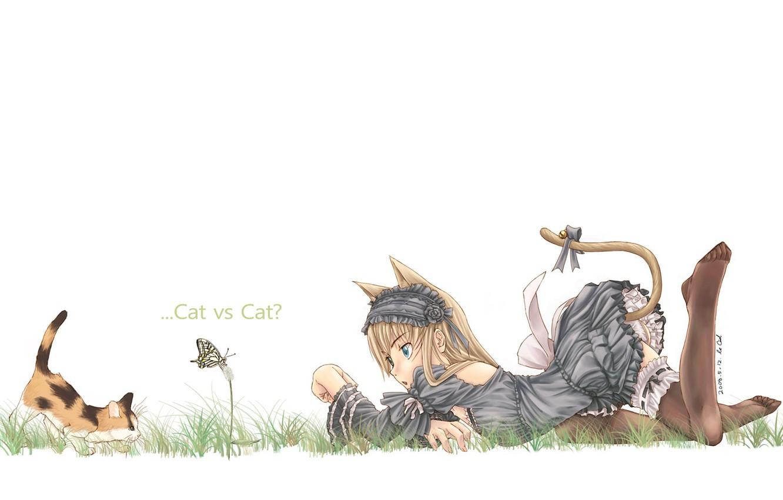 Фото обои настроение, бабочка, девочка, котёнок, неко