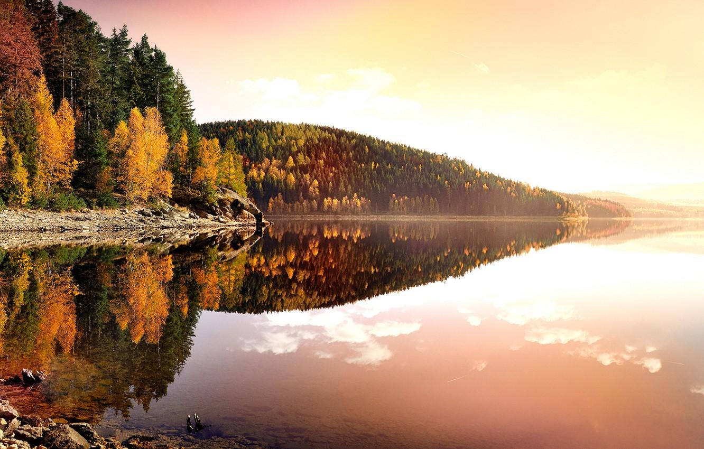 Фото обои осень, листья, вода, деревья, пейзаж, закат, природа, озеро, отражение, берег, вечер, желтые, Германия, Deutschland, Рудные …