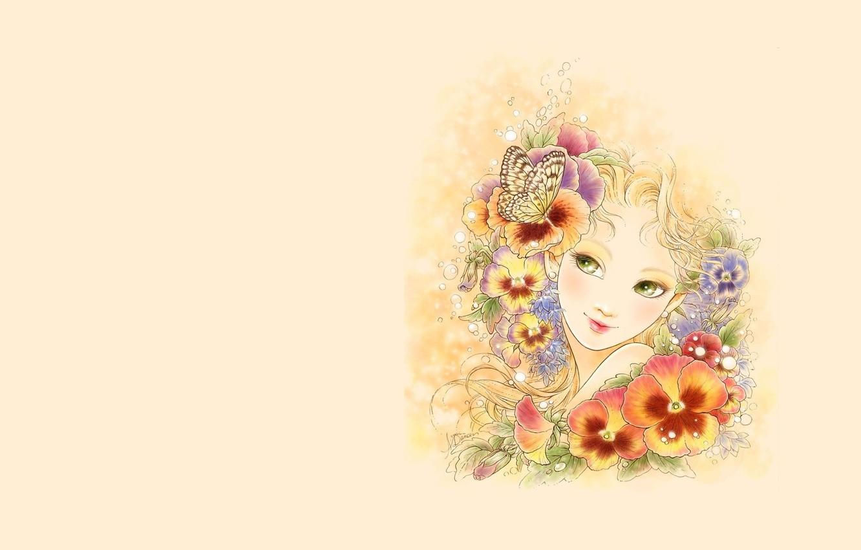 Фото обои девушка, цветы, настроение, бабочка, минимализм, арт