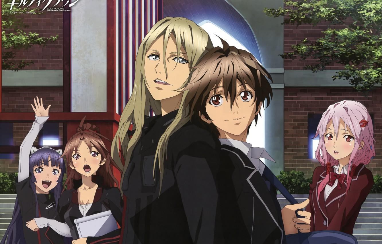 Фото обои улыбка, друзья, art, школьники, guilty crown, inori yuzuriha, два парня, tsugumi, корона грешника, shu ouma, …