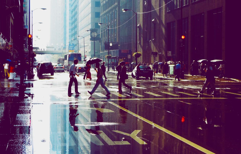 Фото обои отражение, люди, улица, здания, небоскребы, лужа, Чикаго, Chicago
