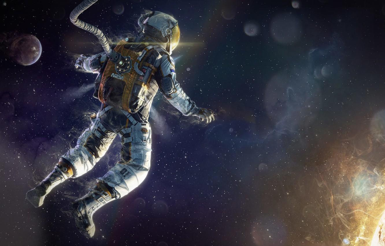 Фото обои энергия, космос, звезда, скафандр, арт, астронавт