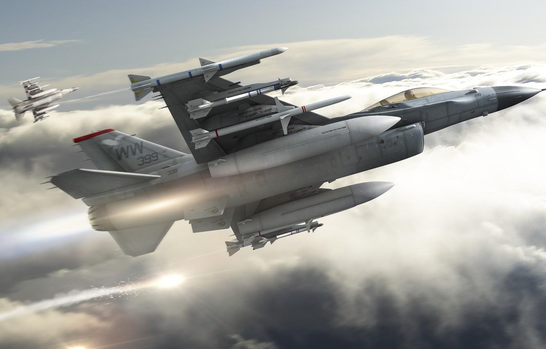Обои Облака, полет, истребители. Авиация foto 12
