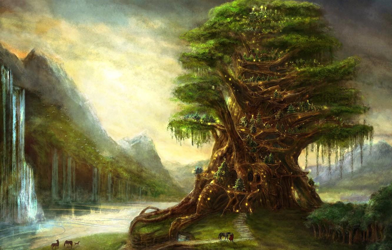Фото обои огни, рисунок, водопад, Дерево