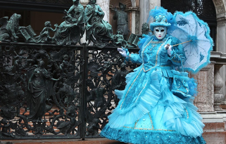 Фото обои зонт, маска, костюм, Венеция, карнавал, ковка